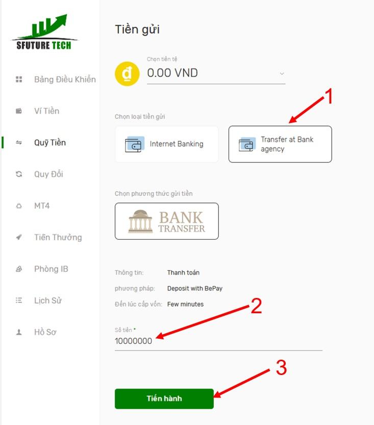 Cách nạp tiền Sfuture bằng cách chuyển khoản qua ngân hàng