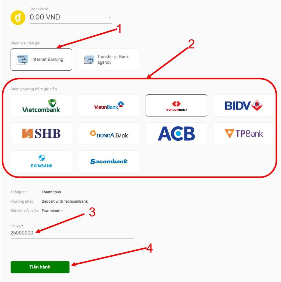 Cách nạp tiền Sfuture bằng Internet Banking