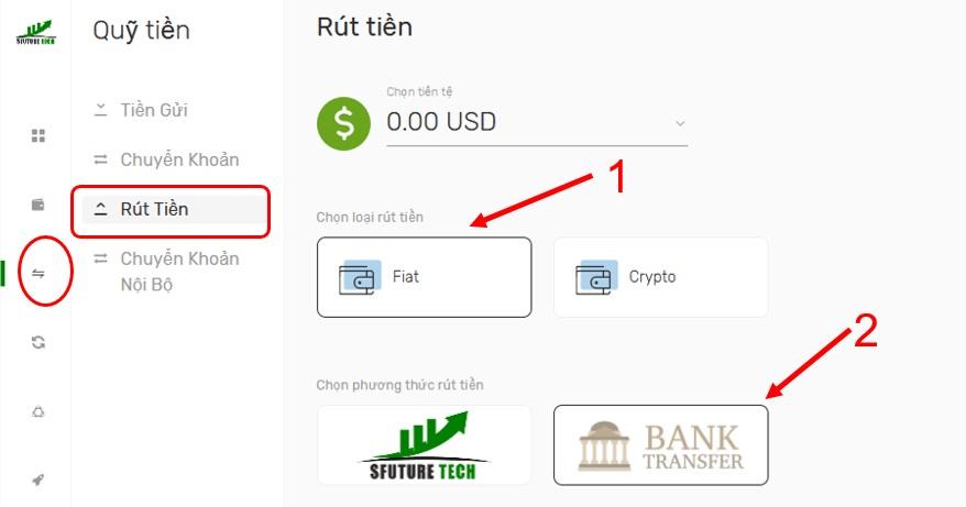 Cách rút tiền trực tiếp về ngân hàng 1