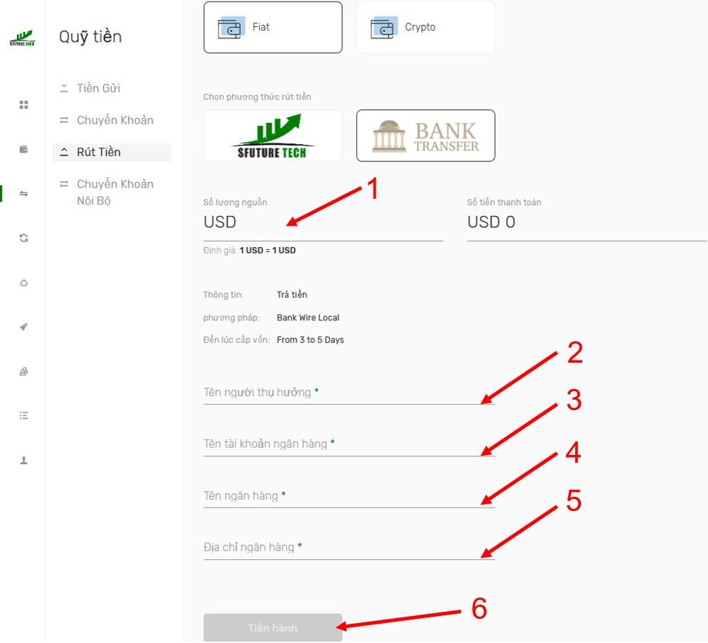 Cách rút tiền trực tiếp về ngân hàng 2