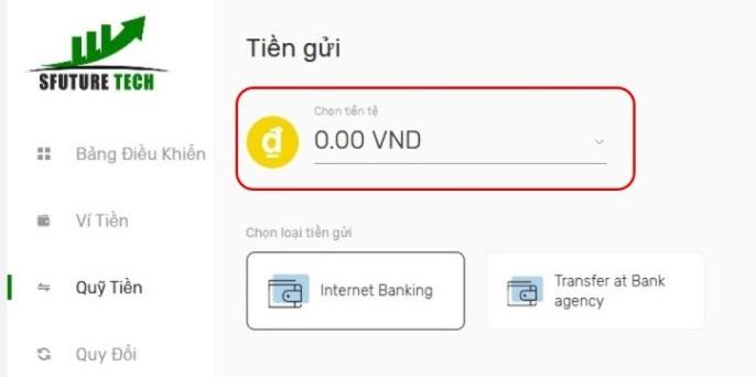 Chọn loại tiền để nạp tiền qua banking