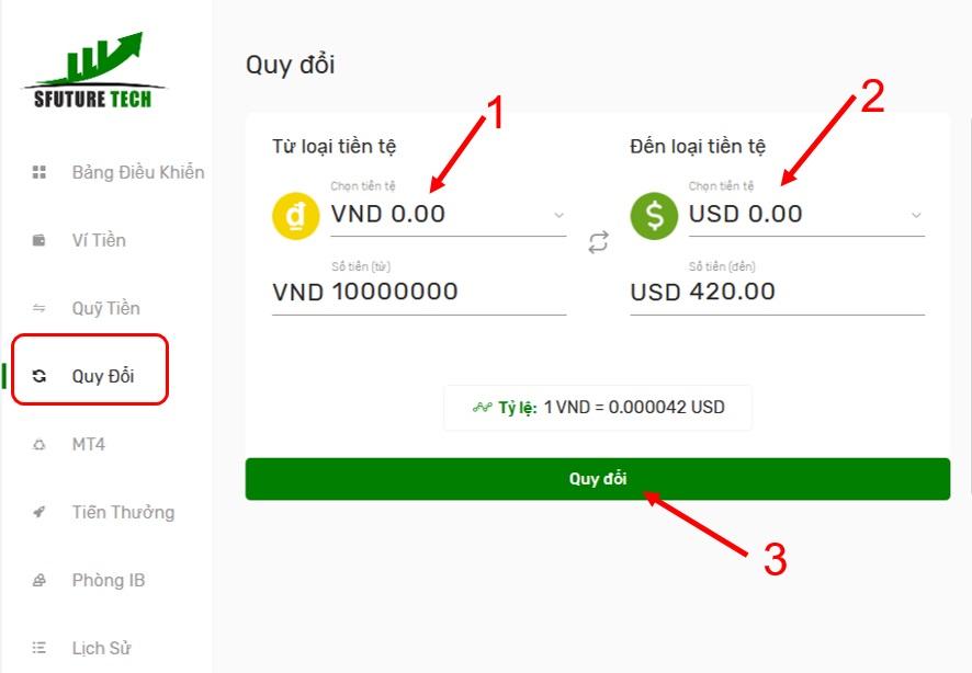 Quy đổi tiền VND sang USD tại Sfuture